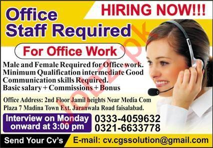 Computer Operator & Receptionist Jobs 2021 in Faisalabad
