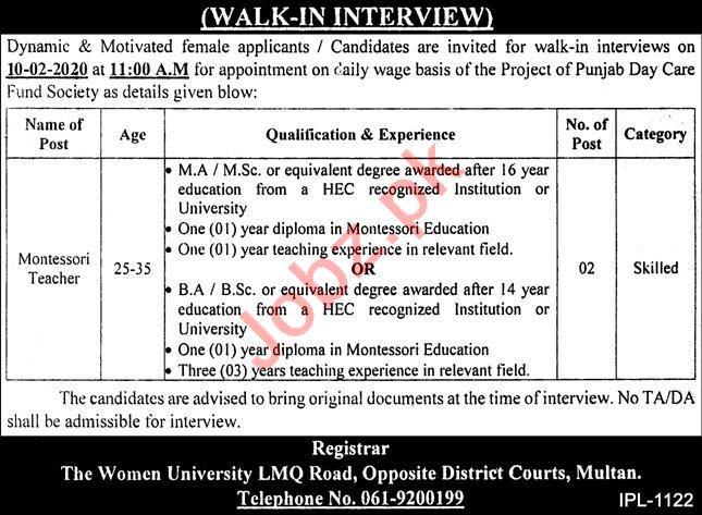 The Women University Multan WUM Jobs 2021 for Teacher