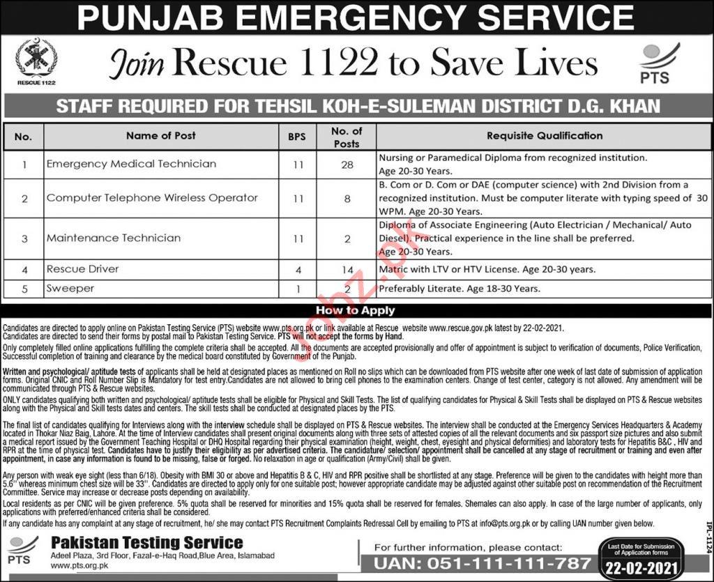 Punjab Emergency Service Rescue 1122 Jobs 2021 Technicians