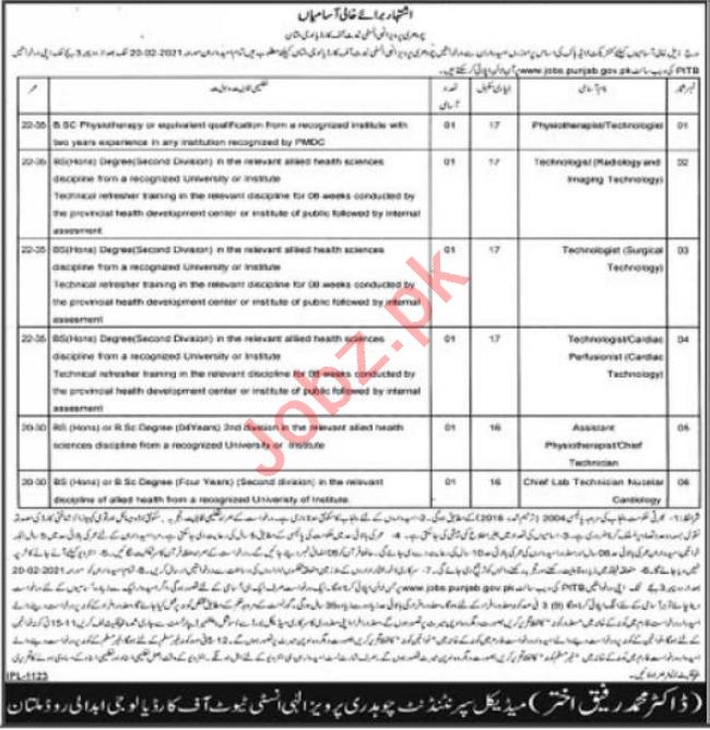 Chaudhry Pervaiz Elahi Institute of Cardiology Jobs 2021