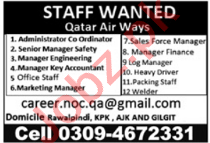 Qatar Air Ways Jobs 2021 for Manager & Office Staff