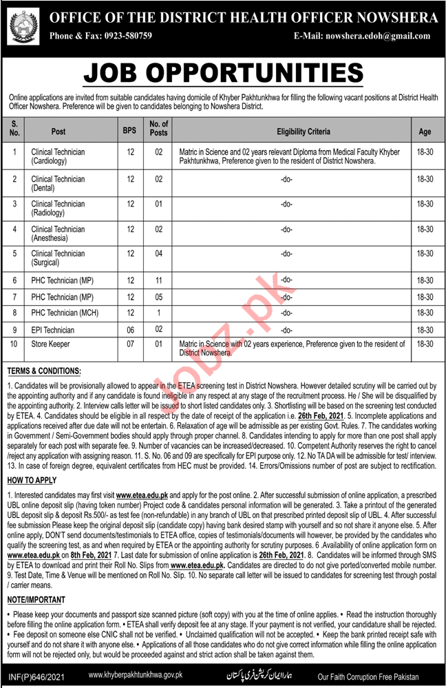 Health Department Nowshera Jobs 2021 for Clinical Technician