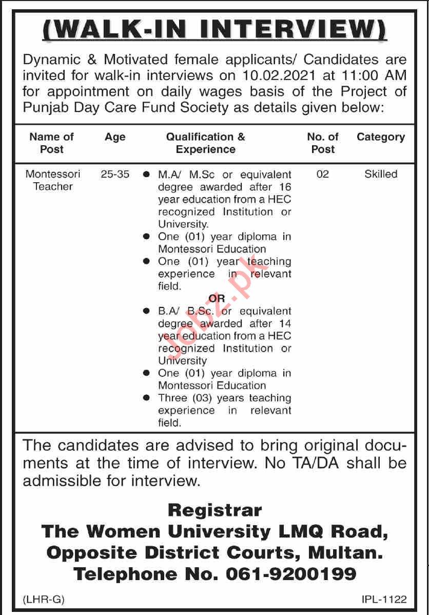 Women University Multan WUM Jobs 2021 Montessori Teacher