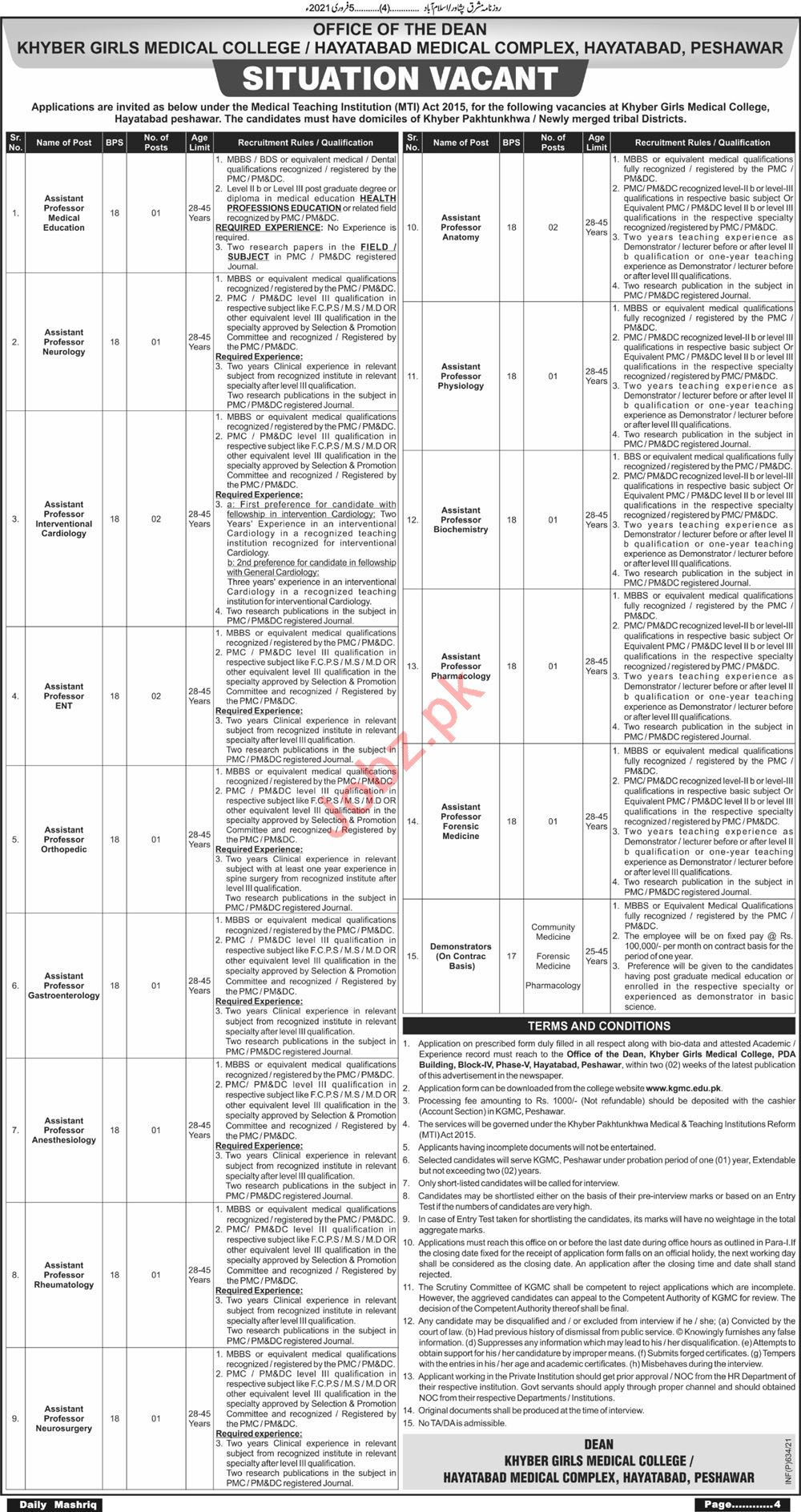 Khyber Girls Medical College Hayatabad Medical Complex Jobs