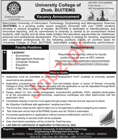 University College of Zhob BUITEMS Jobs 2021 for Lecturers