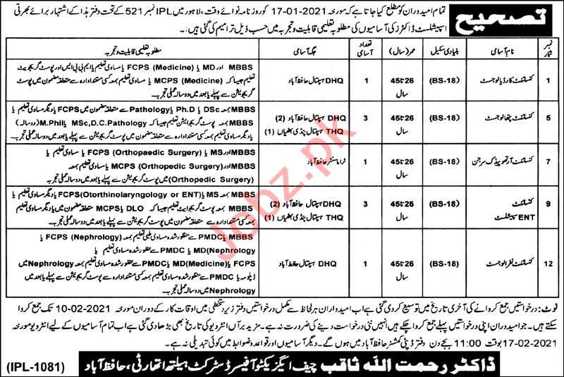 District Health Authority DHA Hafizabad Jobs 2021 for Doctor