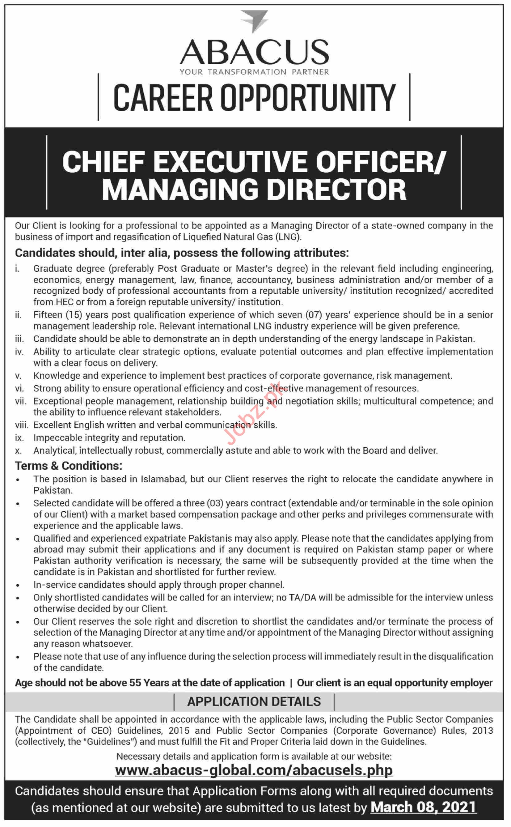Abacus Global Karachi Jobs 2021 for Chief Executive Officer