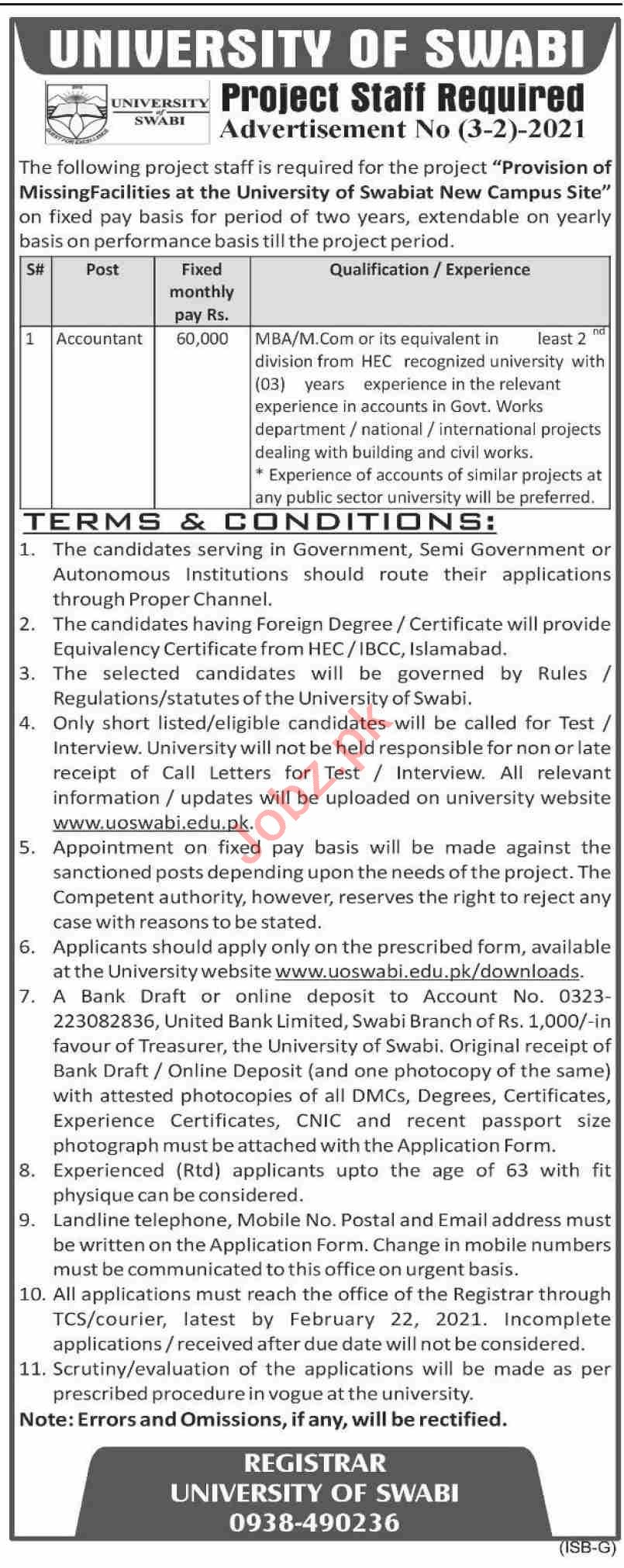 University of Swabi UOS Jobs 2021 for Accountant