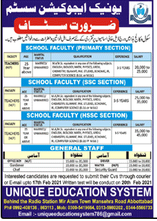 Unique Education System Jobs 2021 in Abbottabad