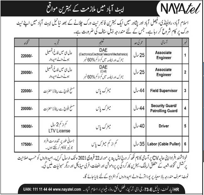 Nayatel Limited Copmany Jobs 2021 in Abbottabad