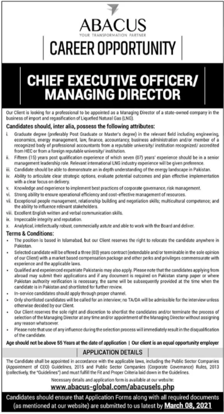 Chief Executive Officer CEO / Managing Director Job 2021