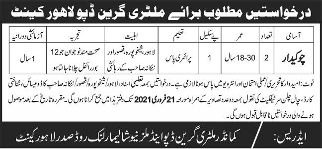 Military Green Depot Lahore Jobs 2021