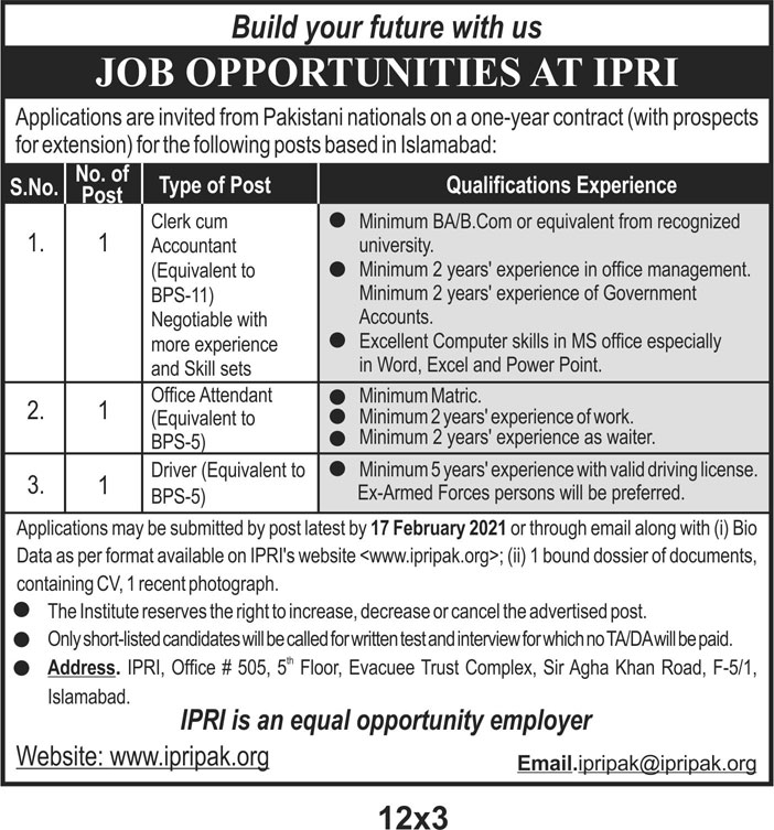 The Islamabad Policy Research Institute Jobs 2021