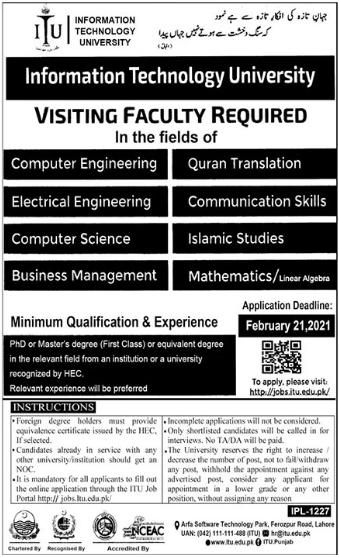 Information Technology University ITU Faculty Jobs 2021