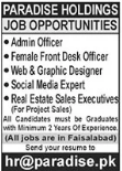 Paradise Holdings Jobs 2021 in Faisalabad