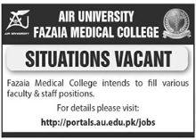 Air University Fazaia Medical College Jobs 2021 in Islamabad