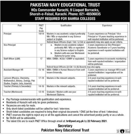 Pakistan Navy Educational Trust Jobs 2021 in Karachi
