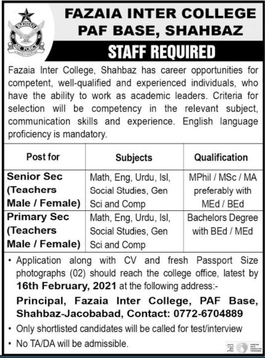 Fazaia Inter College PAF Base Shahbaz Jobs 2021