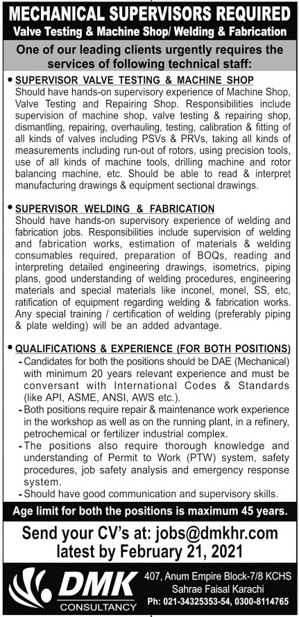 Mechanical Supervisors Jobs 2021 in Karachi