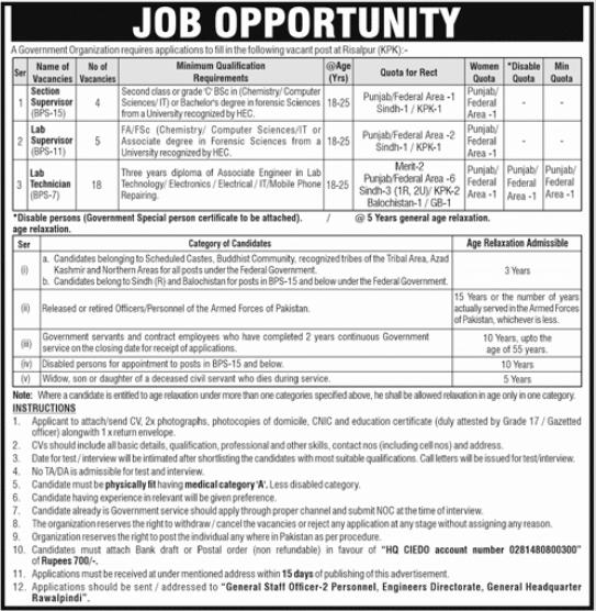 Public Sector Organization Jobs 2021 in Risalpur