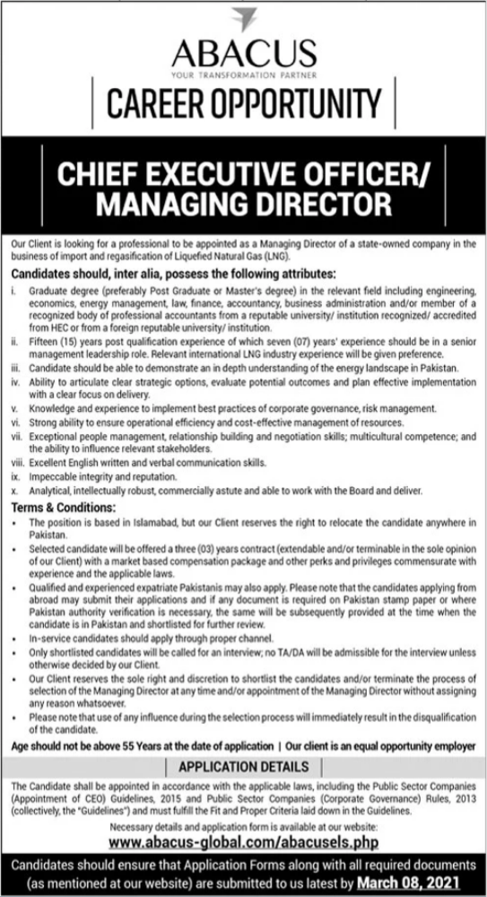 Abacus Global Jobs 2021 in Lahore