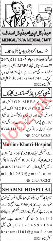 Jang Sunday Classified Ads 7th Feb 2021 for Medical Staff