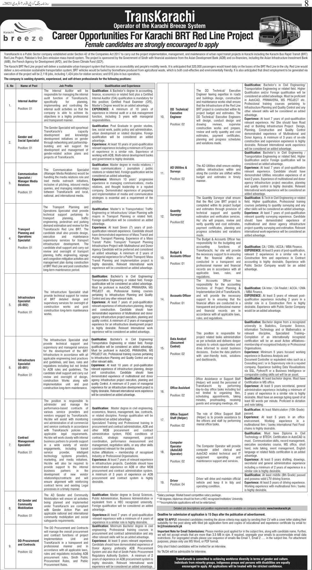 Karachi BRT Red Line Project TransKarachi Jobs 2021