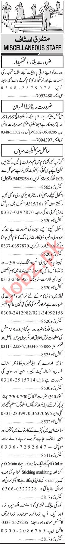 Jang Sunday Classified Ads 7th Feb 2021 for General Staff