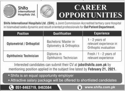 Shifa International Hospital Limited Jobs 2021 in Islamabad