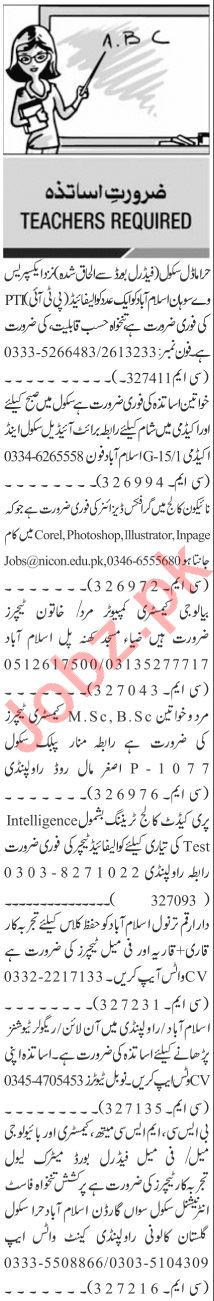 Jang Sunday Classified Ads 7th Feb 2021 for Educational