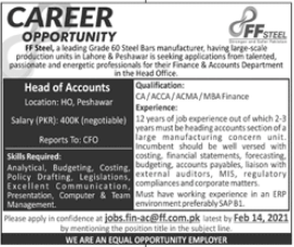 FF Steel Manufacturing Industry Job For Head of Accounts
