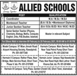 Allied Schools Walk In Interviews 2021