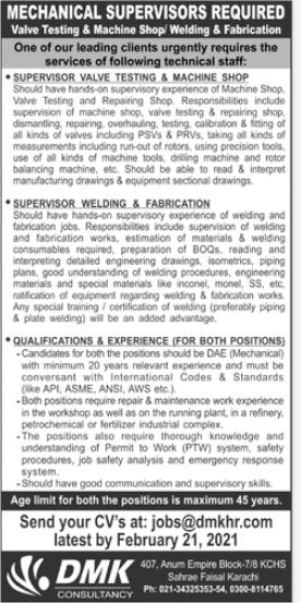 Mechanical Supervisors Jobs 2021 For Karachi