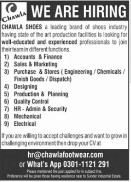 Chawla Shoes Industry Jobs 2021 in Lahore
