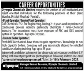 Olympia Chemicals Limited Jobs 2021 in Khushab