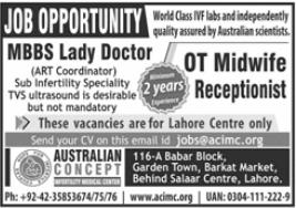 Australian Concept Infertility Medical Center Jobs 2021