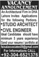 Studio Architect & Civil Engineer Jobs 2021 in Lahore