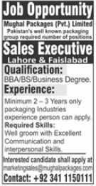 Mughal Packages Private Limited Job 2021 for Sales Executive