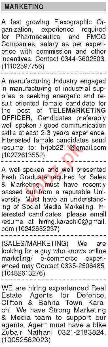 Dawn Sunday Classified Ads 7th Feb 2021 for Marketing Staff