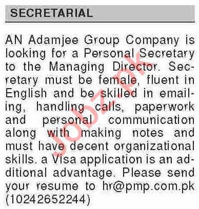 Dawn Sunday Classified Ads 7th Feb 2021 for Secretary