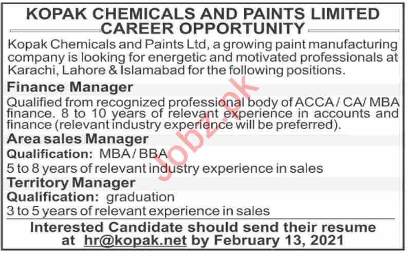 Kopak Chemicals & Paints Limited Islamabad Jobs 2021