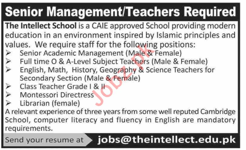 The Intellect School Karachi Jobs 2021 for Teachers