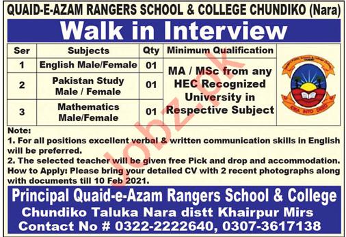 Quaid e Azam Rangers School & College Chundiko Jobs 2021