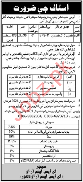 Army Selection & Recruitment Centre Lahore Cantt Jobs 2021