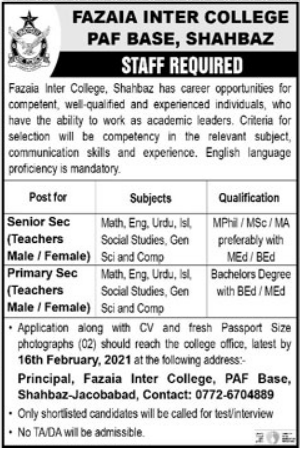 Fazaia Inter College PAF Base Shahbaz Jobs 2021