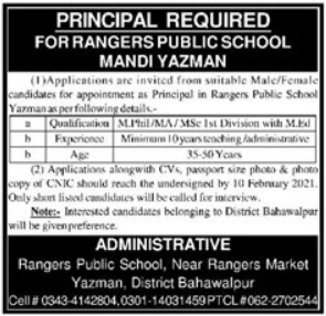 Rangers Public School Mandi Yazman Job 2021