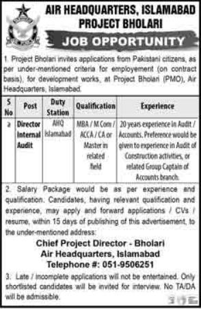 Air Headquarters Islamabad Job For Director Internal Audit