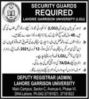 Lahore Garrison University LGU Jobs 2021 For Security Guards