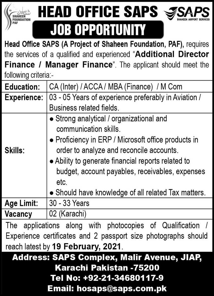 Shaheen Airport Services Jobs 2021 For Karachi