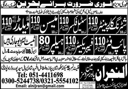 Construction Staff Jobs 2021 in Bahrain